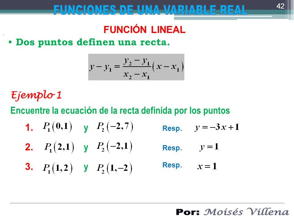 . FUNCIÓN LINEAL Dos puntos definen una recta. Encuentre la ecuaci ó n de la recta definida por los puntos Ejemplo 1 y 1. Resp. 2. y Resp. 3. y Resp.
