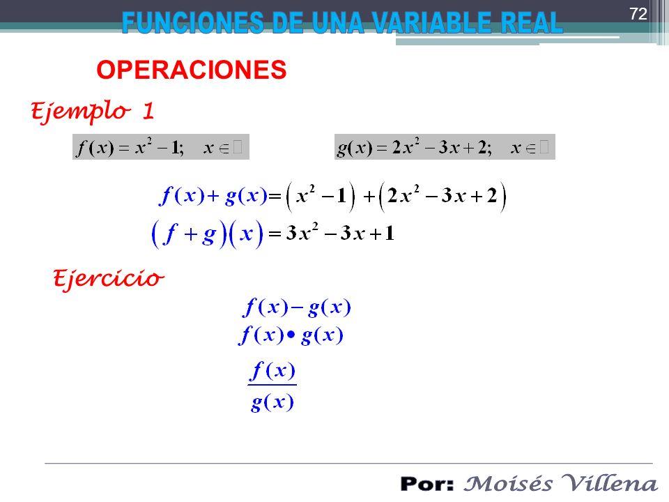 OPERACIONES Ejemplo 1 Ejercicio 72