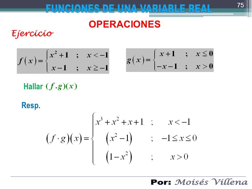 OPERACIONES Ejercicio Hallar Resp. 75