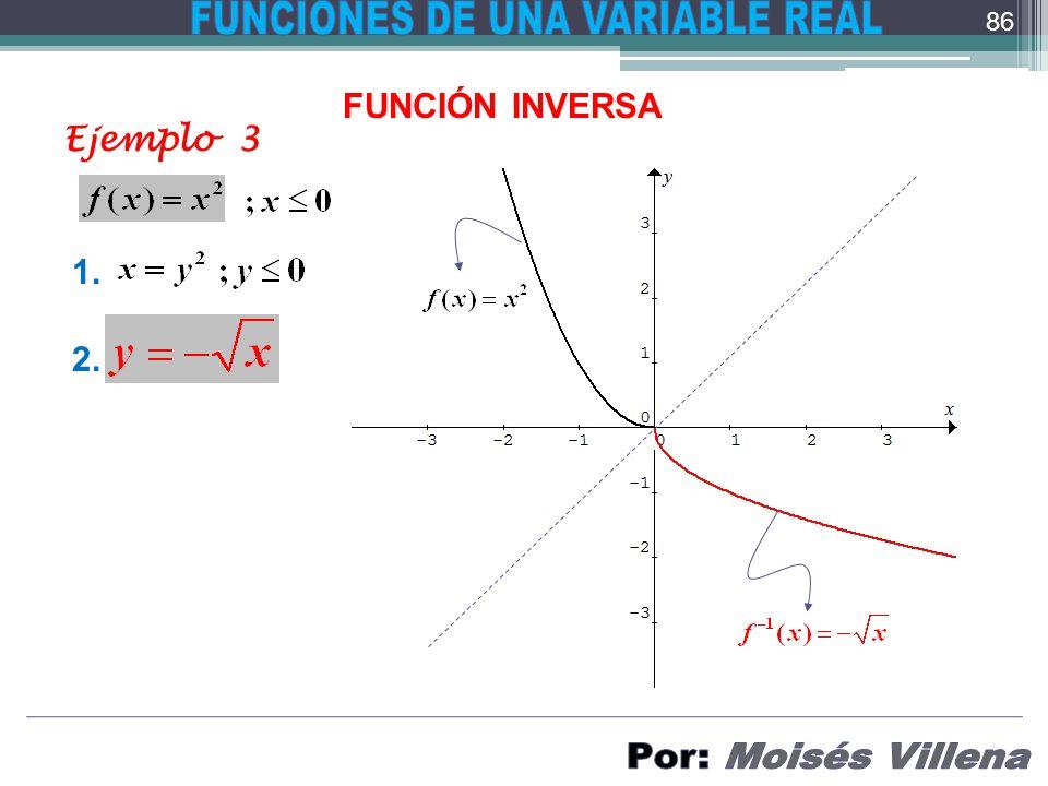 FUNCIÓN INVERSA Ejemplo 3 1. 2. 86