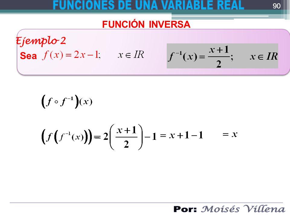 FUNCIÓN INVERSA Ejemplo 2 Sea 90