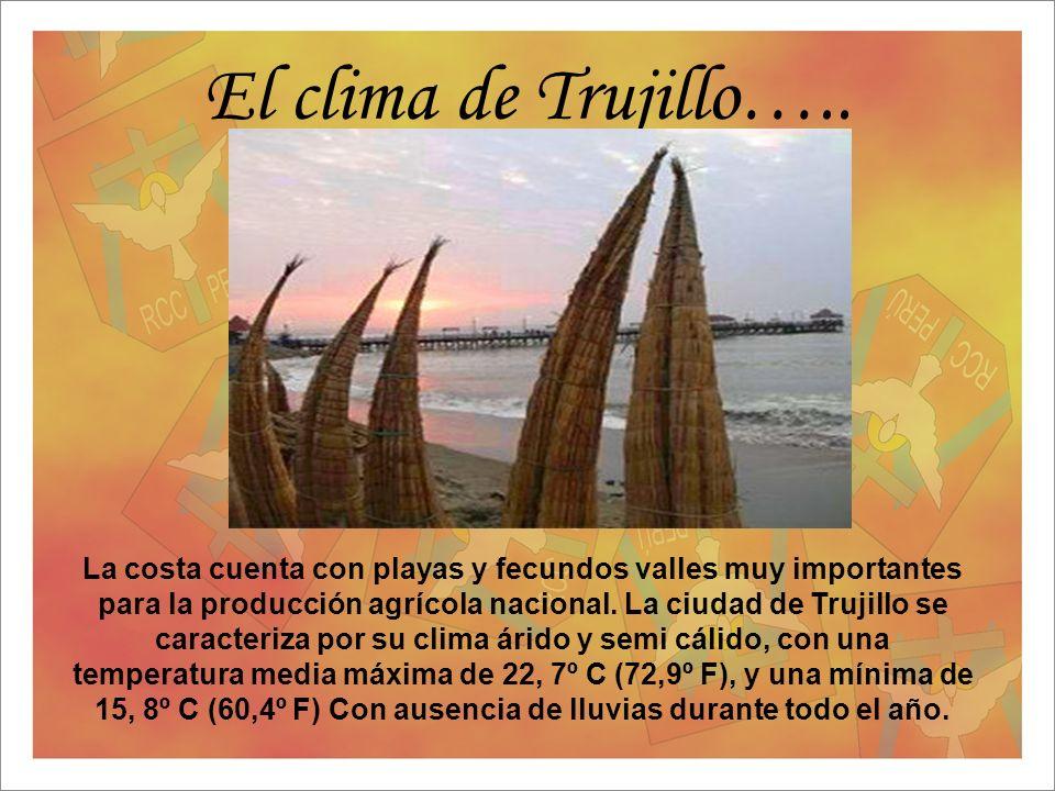 El clima de Trujillo….. La costa cuenta con playas y fecundos valles muy importantes para la producción agrícola nacional. La ciudad de Trujillo se ca