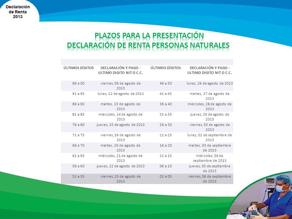 El plazo para presentar la declaración y para cancelar, en una sola cuota, el valor a pagar por concepto del impuesto sobre la renta y complementarios y del anticipo, se inicia el 09 de agosto del año 2013 y finalizan el 06 de Septiembre de 2013, como se indican a continuación, atendiendo los dos últimos dígitos del NIT del declarante que conste en el Certificado del Registro Único Tributario RUT, sin tener en cuenta el dígito de verificación, así:
