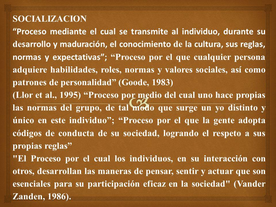 SOCIALIZACION Proceso mediante el cual se transmite al individuo, durante su de sarrollo y maduración, el conocimiento de la cultura, sus reglas, normas y expectativas; Proceso por el que cualquier persona adquiere habilidades, roles, normas y valores sociales, así como patrones de personalidad (Goode, 1983) (Llor et al., 1995) Proceso por medio del cual uno hace propias las normas del grupo, de tal modo que surge un yo distinto y único en este individuo; Proceso por el que la gente adopta códigos de conducta de su sociedad, logrando el respeto a sus propias reglas El Proceso por el cual los individuos, en su interacción con otros, desarrollan las maneras de pensar, sentir y actuar que son esenciales para su participación eficaz en la sociedad (Vander Zanden, 1986).