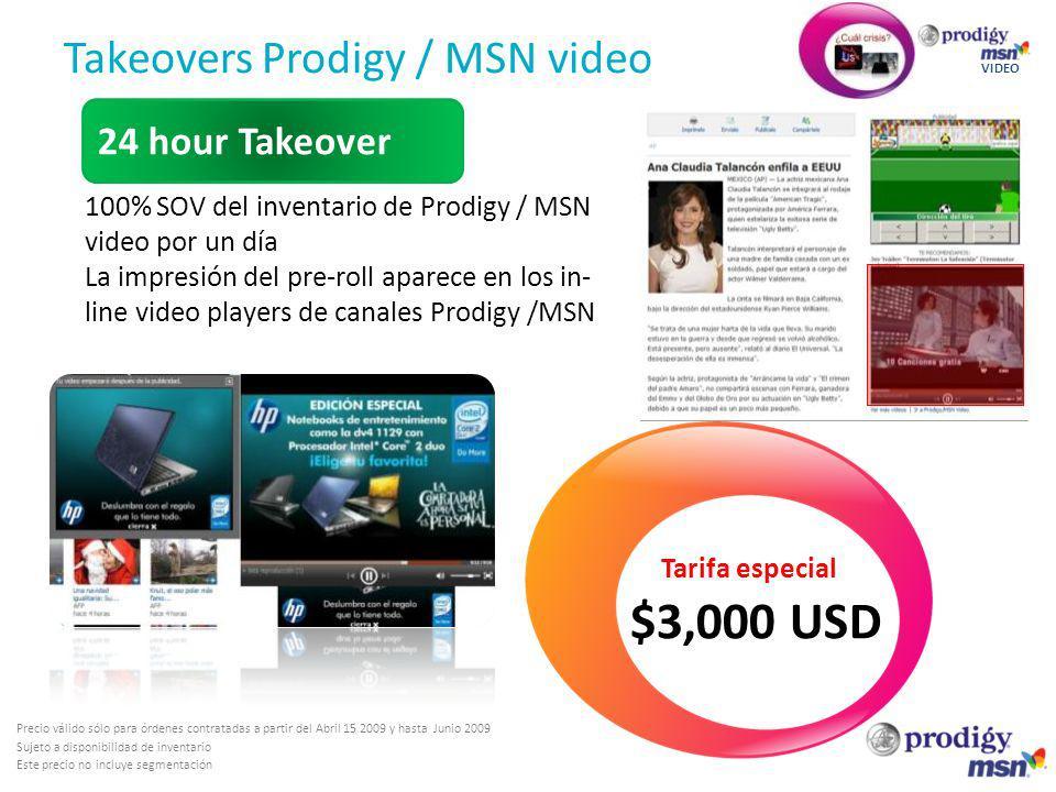 Takeovers Prodigy / MSN video VIDEO 100% SOV del inventario de Prodigy / MSN video por un día La impresión del pre-roll aparece en los in- line video