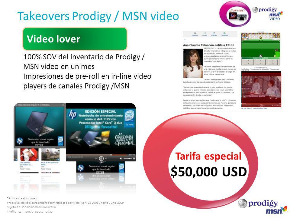 Takeovers Prodigy / MSN video VIDEO Video lover *Aplican restricciones: Precio válido sólo para órdenes contratadas a partir del Abril 15 2009 y hasta Junio 2009 Sujeto a disponibilidad de inventario 4 millones impresiones estimadas Tarifa especial $50,000 USD 100% SOV del inventario de Prodigy / MSN video en un mes Impresiones de pre-roll en in-line video players de canales Prodigy /MSN