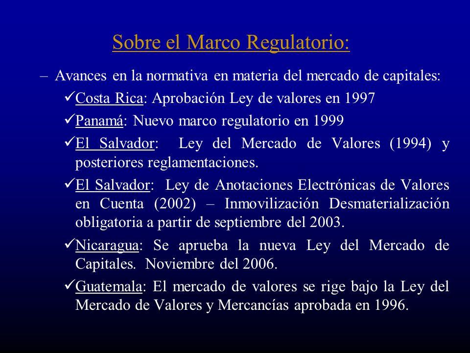 –Avances en la normativa en materia del mercado de capitales: Costa Rica: Aprobación Ley de valores en 1997 Panamá: Nuevo marco regulatorio en 1999 El Salvador: Ley del Mercado de Valores (1994) y posteriores reglamentaciones.