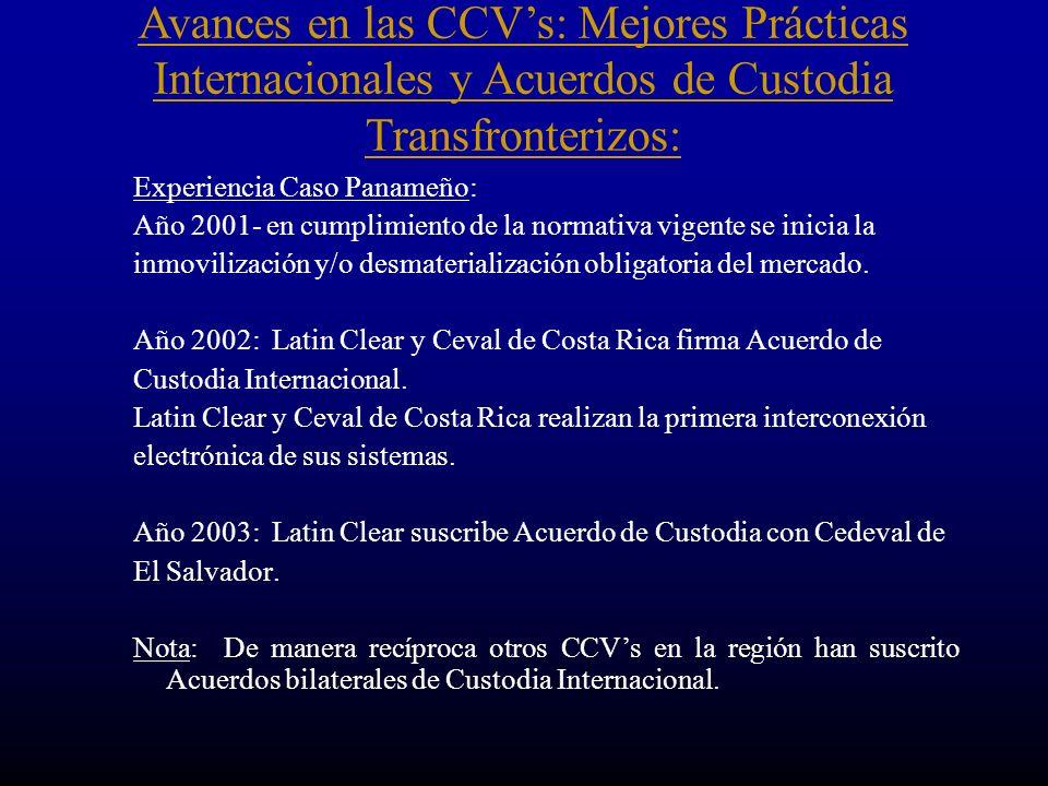 Experiencia Caso Panameño: Año 2001- en cumplimiento de la normativa vigente se inicia la inmovilización y/o desmaterialización obligatoria del mercado.