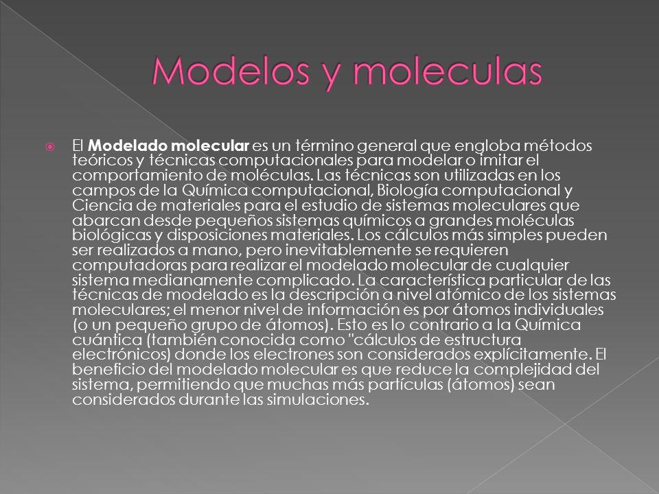 El Modelado molecular es un término general que engloba métodos teóricos y técnicas computacionales para modelar o imitar el comportamiento de molécul