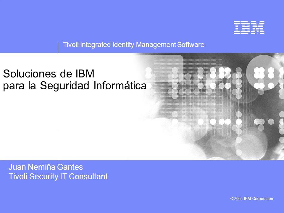 Tivoli Integrated Identity Management Software © 2005 IBM Corporation Soluciones de IBM para la Seguridad Informática Juan Nemiña Gantes Tivoli Securi