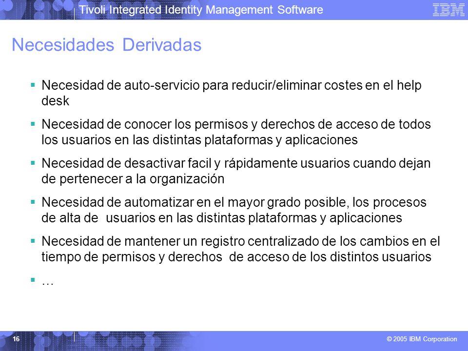 Tivoli Integrated Identity Management Software © 2005 IBM Corporation 16 Necesidades Derivadas Necesidad de auto-servicio para reducir/eliminar costes