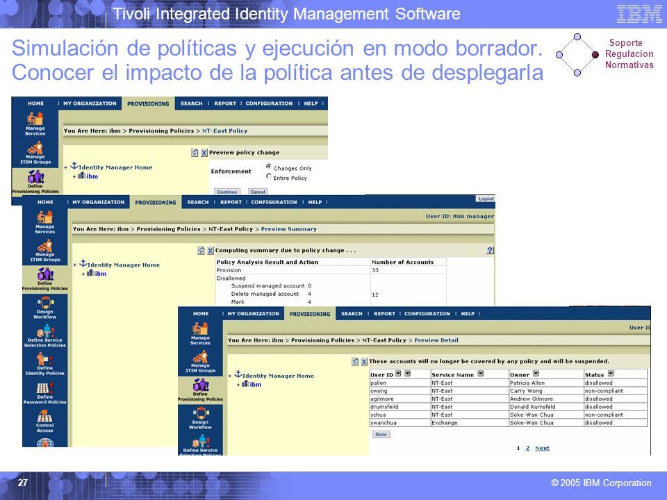 Tivoli Integrated Identity Management Software © 2005 IBM Corporation 27 Simulación de políticas y ejecución en modo borrador. Conocer el impacto de l