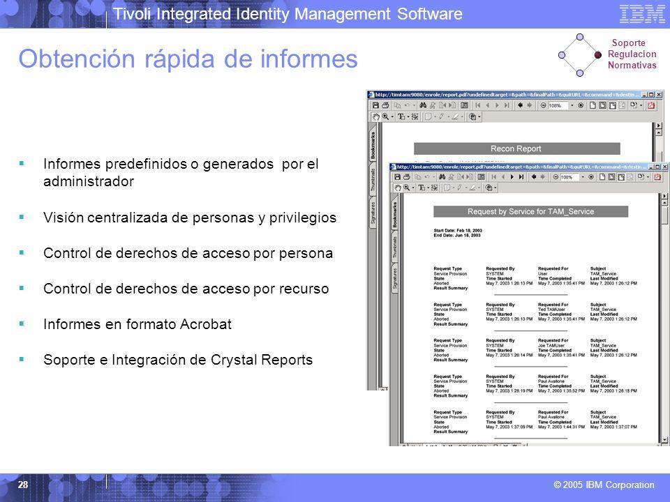 Tivoli Integrated Identity Management Software © 2005 IBM Corporation 28 Obtención rápida de informes Informes predefinidos o generados por el adminis
