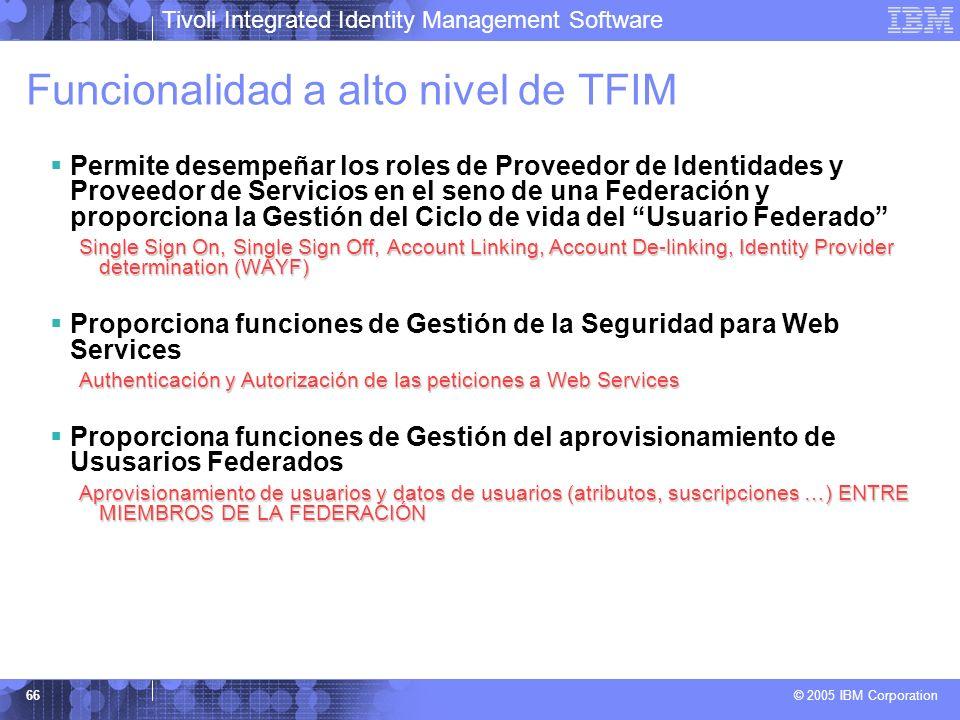 Tivoli Integrated Identity Management Software © 2005 IBM Corporation 66 Funcionalidad a alto nivel de TFIM Permite desempeñar los roles de Proveedor