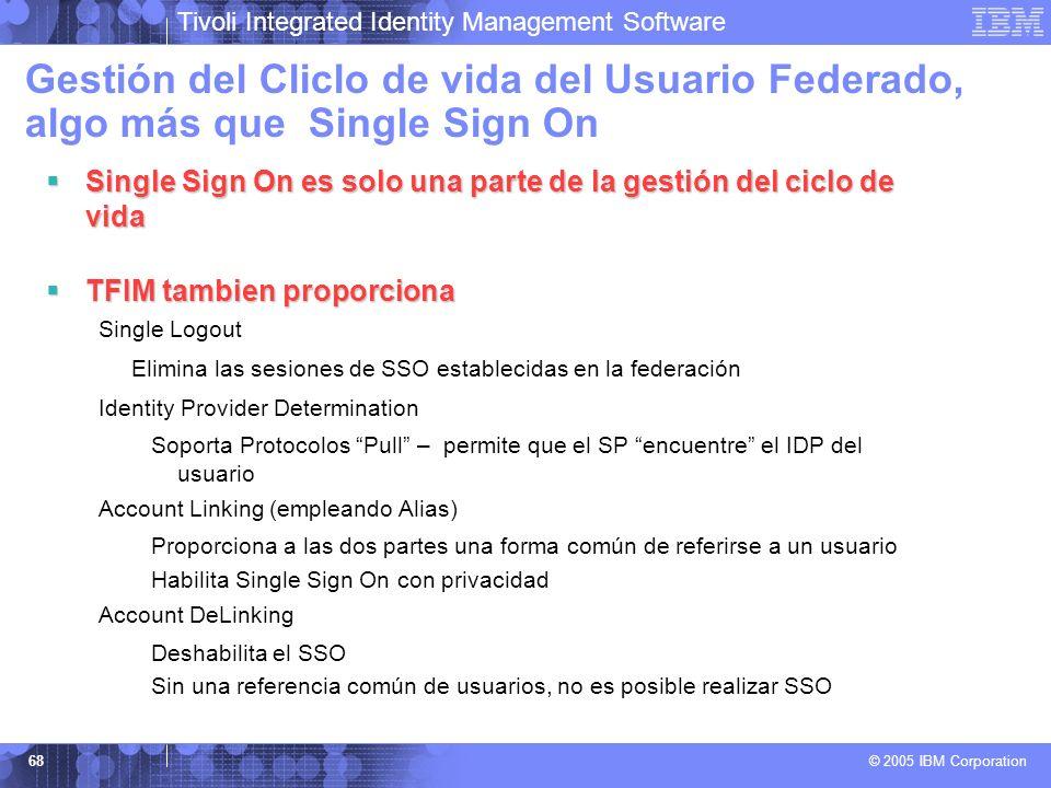Tivoli Integrated Identity Management Software © 2005 IBM Corporation 68 Gestión del Cliclo de vida del Usuario Federado, algo más que Single Sign On
