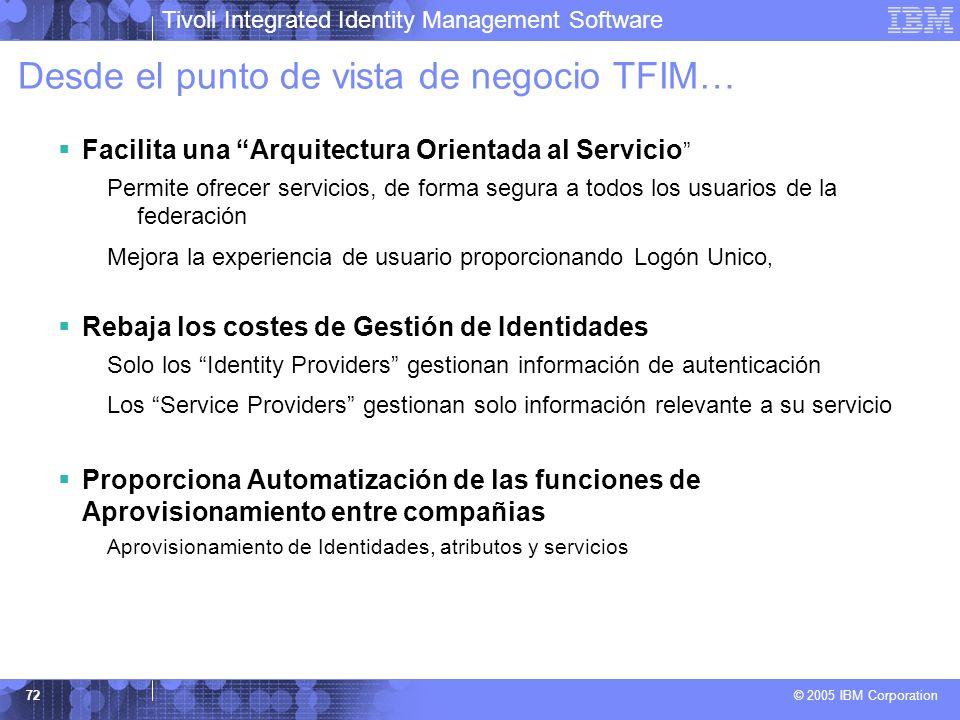 Tivoli Integrated Identity Management Software © 2005 IBM Corporation 72 Desde el punto de vista de negocio TFIM… Facilita una Arquitectura Orientada