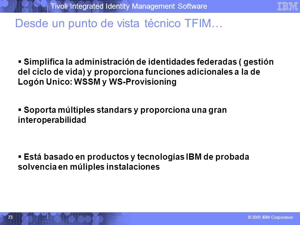 Tivoli Integrated Identity Management Software © 2005 IBM Corporation 73 Simplifica la administración de identidades federadas ( gestión del ciclo de