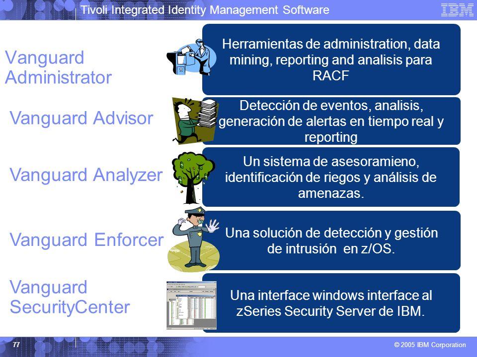 Tivoli Integrated Identity Management Software © 2005 IBM Corporation 77 Vanguard Administrator Herramientas de administration, data mining, reporting