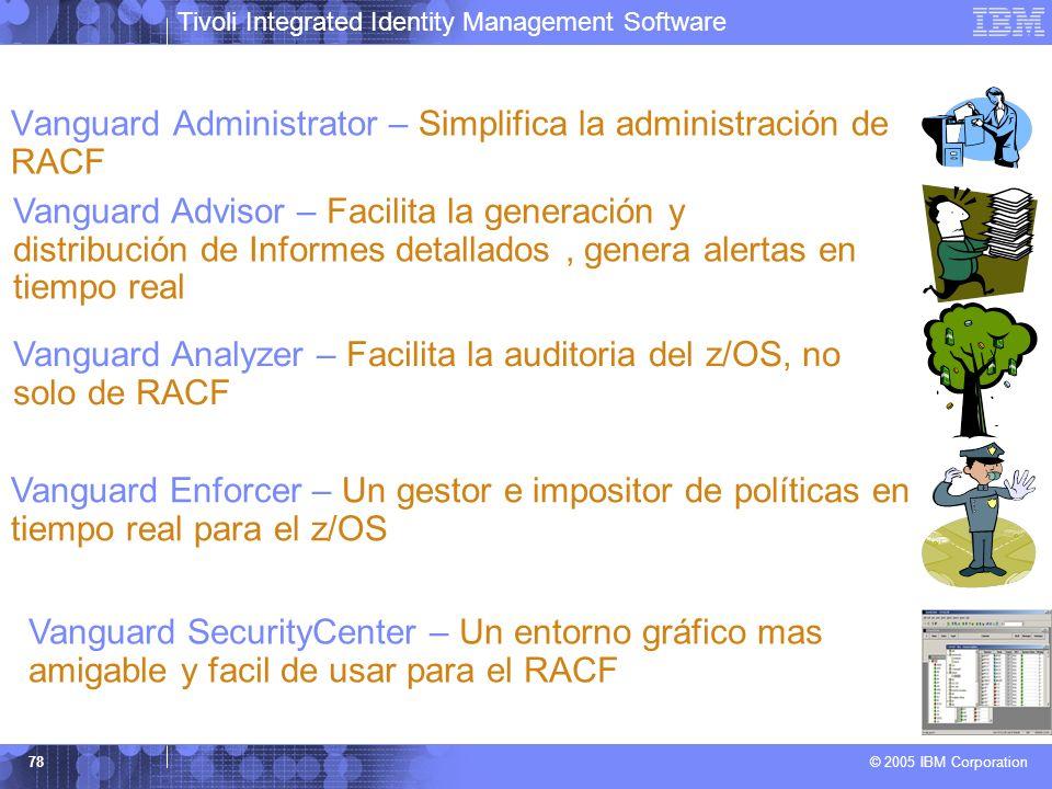 Tivoli Integrated Identity Management Software © 2005 IBM Corporation 78 Vanguard Administrator – Simplifica la administración de RACF Vanguard Adviso