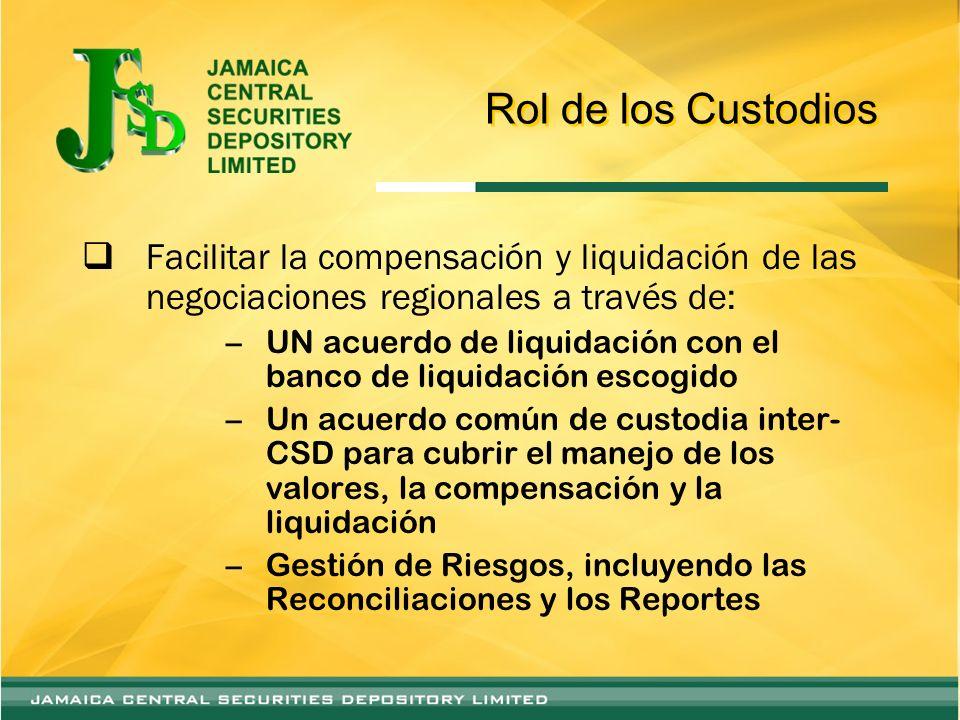 Rol de los Custodios Facilitar la compensación y liquidación de las negociaciones regionales a través de: –UN acuerdo de liquidación con el banco de l