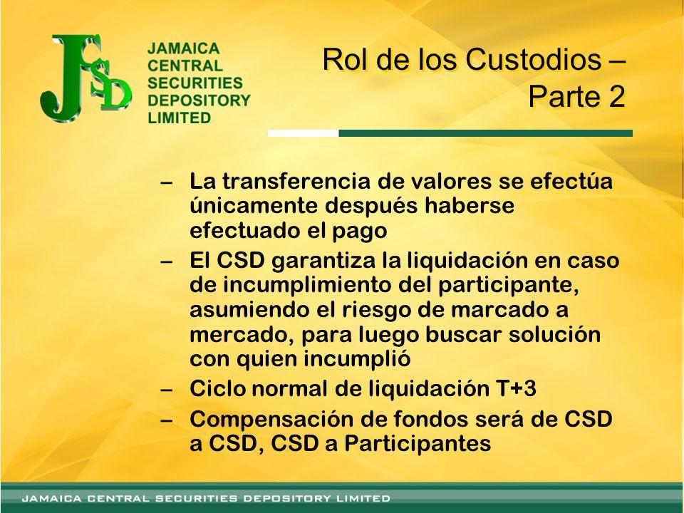 Rol de los Custodios – Parte 2 –La transferencia de valores se efectúa únicamente después haberse efectuado el pago –El CSD garantiza la liquidación e
