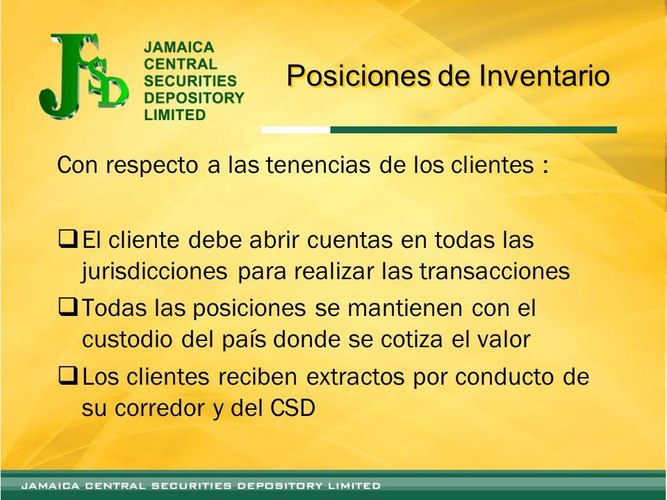 Posiciones de Inventario Con respecto a las tenencias de los clientes : El cliente debe abrir cuentas en todas las jurisdicciones para realizar las tr