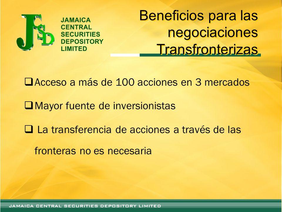 Beneficios para las negociaciones Transfronterizas Acceso a más de 100 acciones en 3 mercados Mayor fuente de inversionistas La transferencia de acciones a través de las fronteras no es necesaria