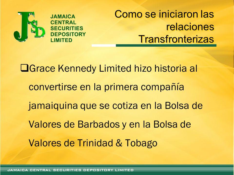 Como se iniciaron las relaciones Transfronterizas – Parte 1 Otras compañías con cotización cruzada en las Bolsas de Valores de Barbados, Jamaica y Trinidad y Tobago :- –Jamaica Money Market Brokers Limited –National Commercial Bank Jamaica Ltd.