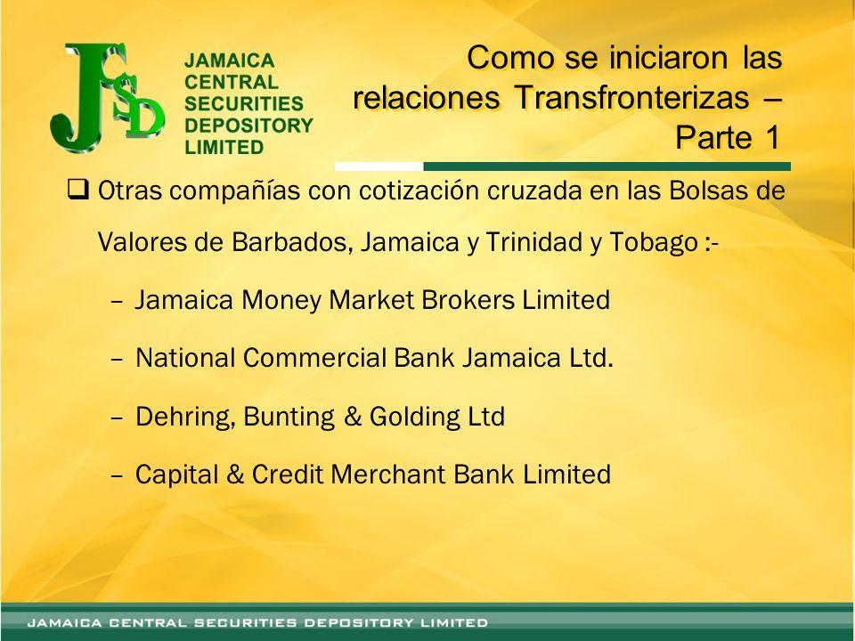 Como se iniciaron las relaciones Transfronterizas – Parte 2 Otras compañías con cotización cruzada en las Bolsas de Valores de Barbados, Jamaica y Trinidad y Tobago :- –First Caribbean Intl Bank –RBTT Financial Holdings Ltd.
