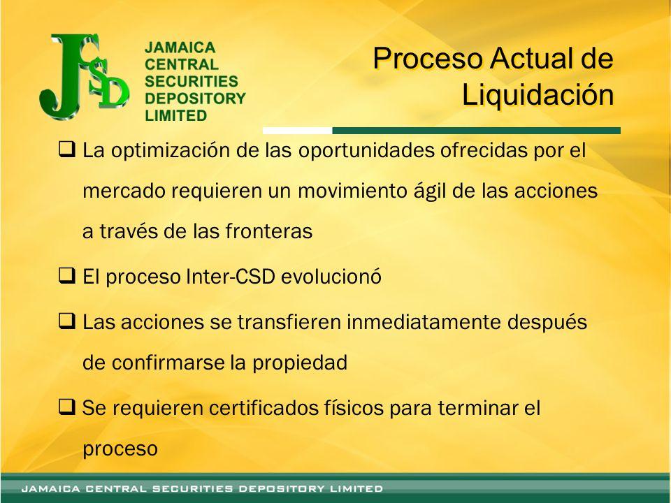 Proceso Actual de Liquidación La optimización de las oportunidades ofrecidas por el mercado requieren un movimiento ágil de las acciones a través de l