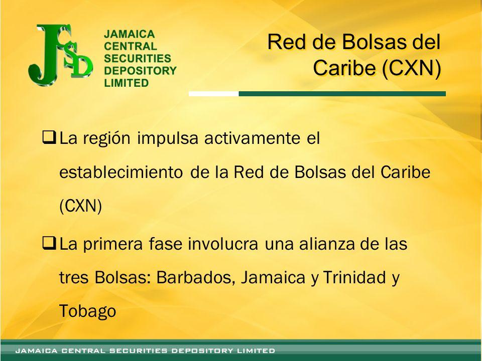 Red de Bolsas del Caribe (CXN) La región impulsa activamente el establecimiento de la Red de Bolsas del Caribe (CXN) La primera fase involucra una alianza de las tres Bolsas: Barbados, Jamaica y Trinidad y Tobago