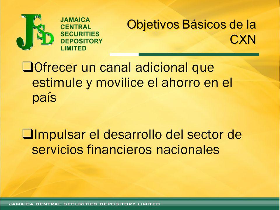Objetivos Básicos de la CXN Ofrecer un canal adicional que estimule y movilice el ahorro en el país Impulsar el desarrollo del sector de servicios financieros nacionales