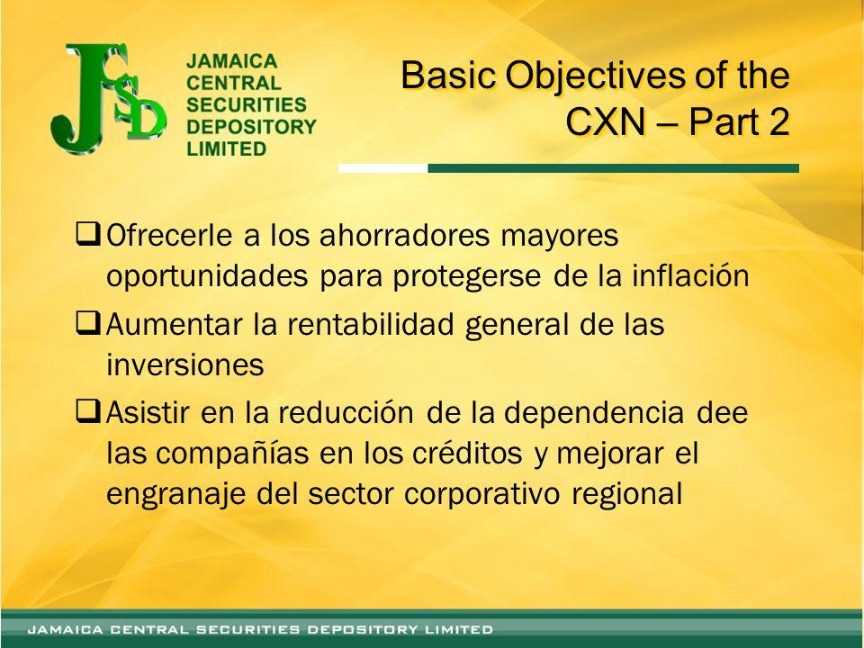 Basic Objectives of the CXN – Part 2 Ofrecerle a los ahorradores mayores oportunidades para protegerse de la inflación Aumentar la rentabilidad genera