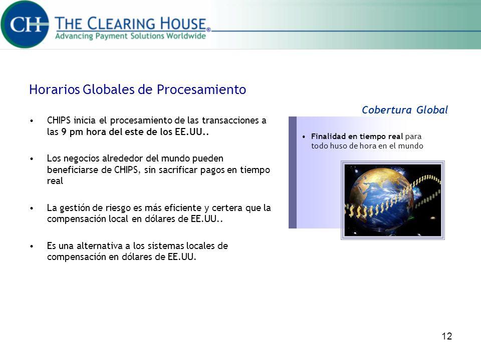 12 Horarios Globales de Procesamiento CHIPS inicia el procesamiento de las transacciones a las 9 pm hora del este de los EE.UU.. Los negocios alrededo