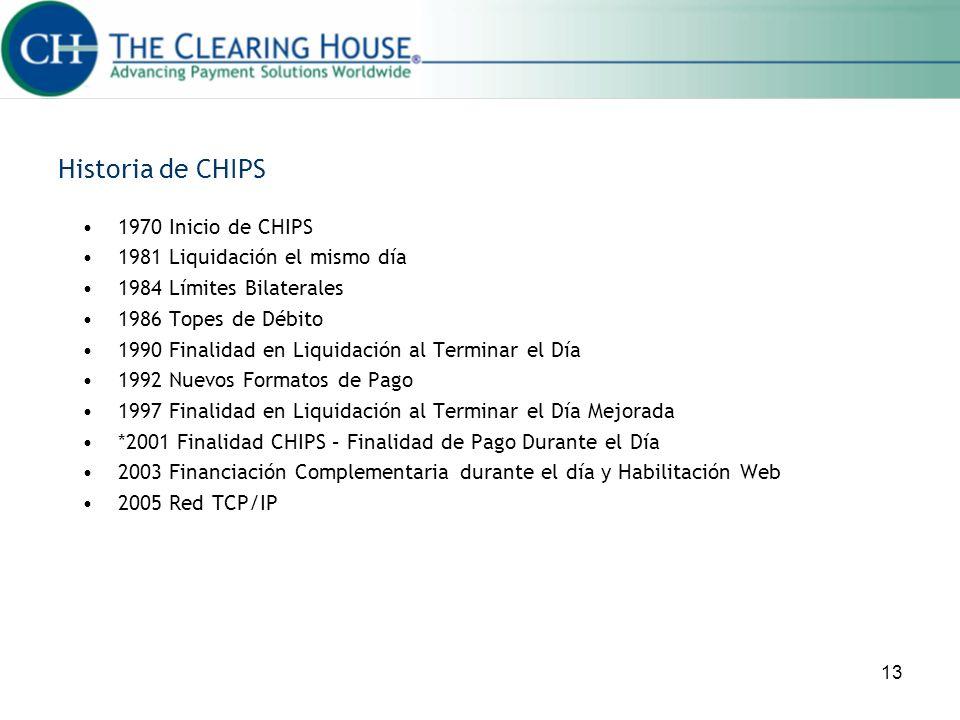 13 Historia de CHIPS 1970 Inicio de CHIPS 1981 Liquidación el mismo día 1984 Límites Bilaterales 1986 Topes de Débito 1990 Finalidad en Liquidación al