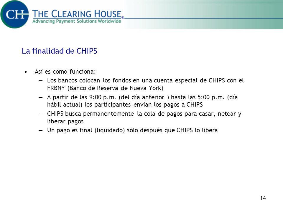 14 Así es como funciona: Los bancos colocan los fondos en una cuenta especial de CHIPS con el FRBNY (Banco de Reserva de Nueva York) A partir de las 9