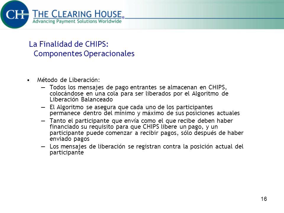 16 Método de Liberación: Todos los mensajes de pago entrantes se almacenan en CHIPS, colocándose en una cola para ser liberados por el Algoritmo de Li