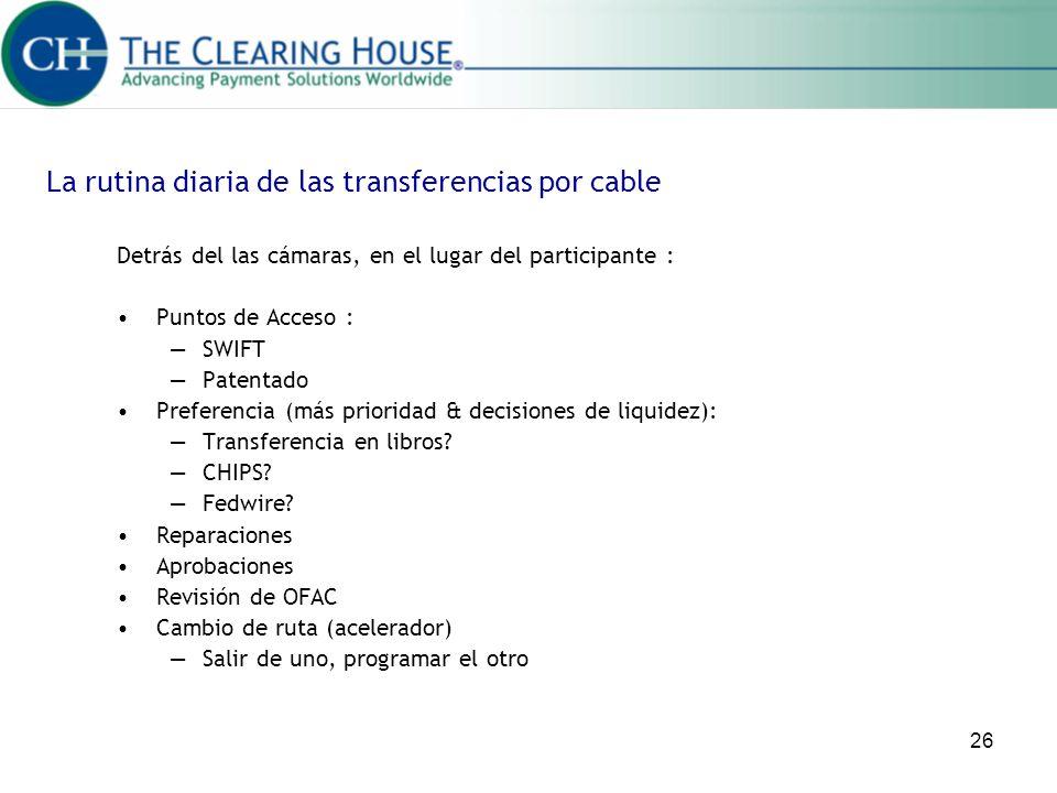 26 La rutina diaria de las transferencias por cable Detrás del las cámaras, en el lugar del participante : Puntos de Acceso : SWIFT Patentado Preferen