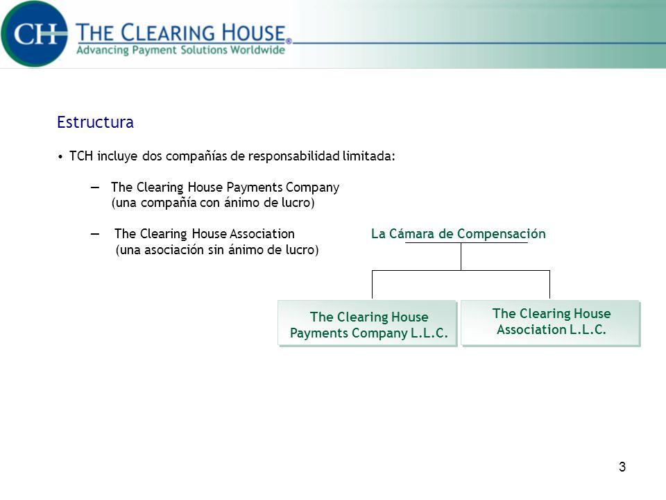 3 TCH incluye dos compañías de responsabilidad limitada: The Clearing House Payments Company (una compañía con ánimo de lucro) The Clearing House Asso