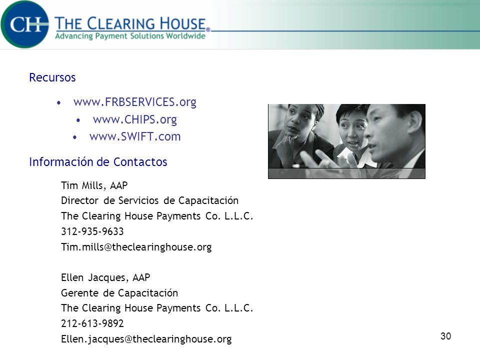 30 Recursos www.FRBSERVICES.org www.CHIPS.org www.SWIFT.com Información de Contactos Tim Mills, AAP Director de Servicios de Capacitación The Clearing