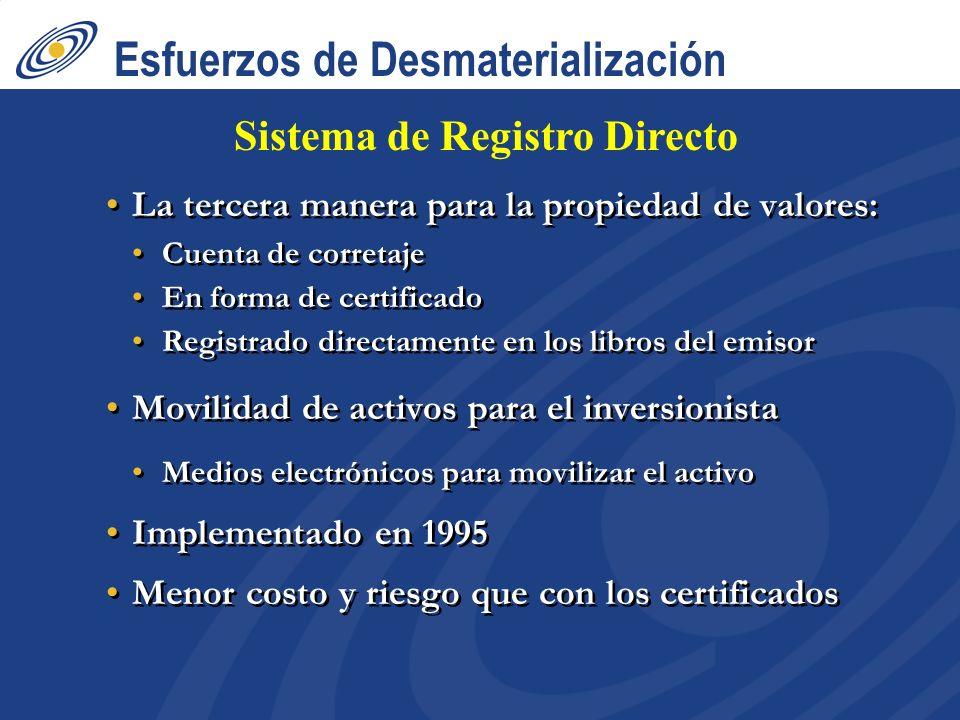 Esfuerzos de Desmaterialización La tercera manera para la propiedad de valores: Cuenta de corretaje En forma de certificado Registrado directamente en