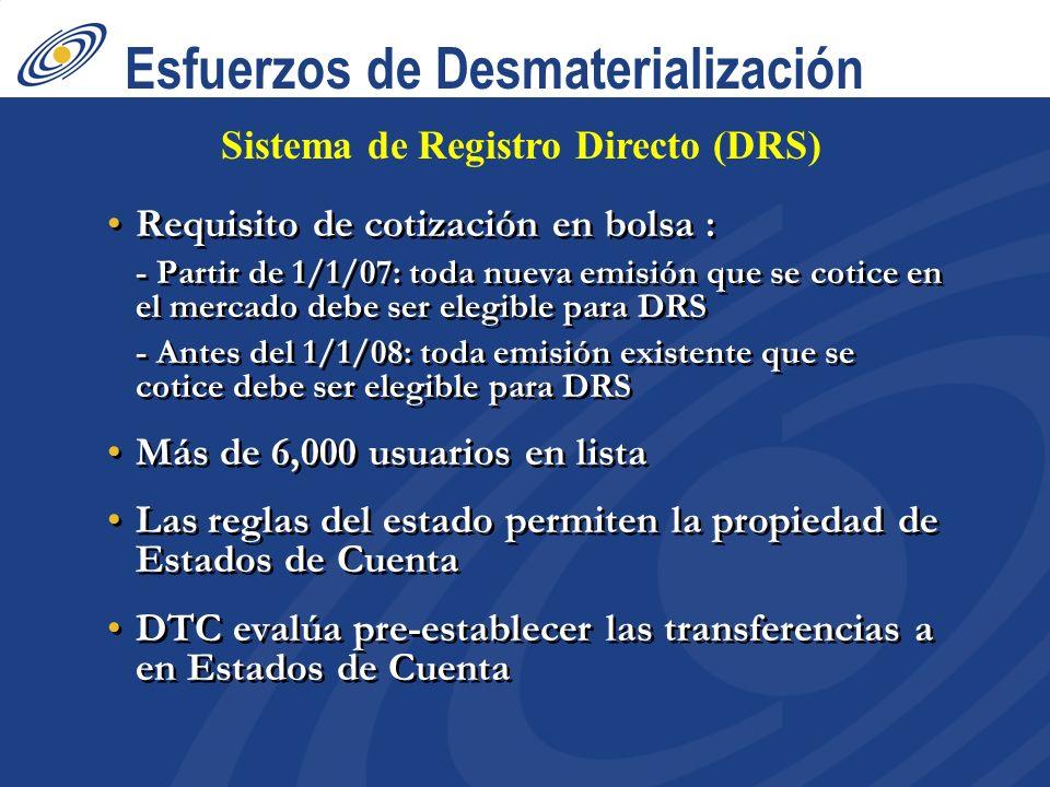 Esfuerzos de Desmaterialización Requisito de cotización en bolsa : - Partir de 1/1/07: toda nueva emisión que se cotice en el mercado debe ser elegible para DRS - Antes del 1/1/08: toda emisión existente que se cotice debe ser elegible para DRS Más de 6,000 usuarios en lista Las reglas del estado permiten la propiedad de Estados de Cuenta DTC evalúa pre-establecer las transferencias a en Estados de Cuenta Requisito de cotización en bolsa : - Partir de 1/1/07: toda nueva emisión que se cotice en el mercado debe ser elegible para DRS - Antes del 1/1/08: toda emisión existente que se cotice debe ser elegible para DRS Más de 6,000 usuarios en lista Las reglas del estado permiten la propiedad de Estados de Cuenta DTC evalúa pre-establecer las transferencias a en Estados de Cuenta Sistema de Registro Directo (DRS)