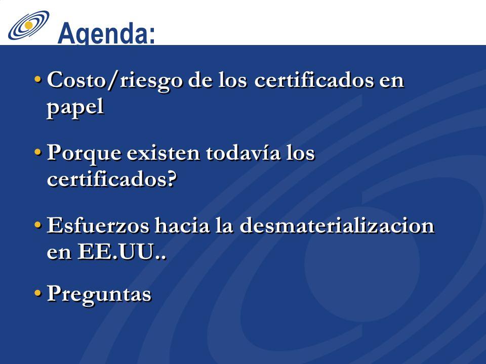 Agenda: Costo/riesgo de los certificados en papel Porque existen todavía los certificados? Esfuerzos hacia la desmaterializacion en EE.UU.. Preguntas