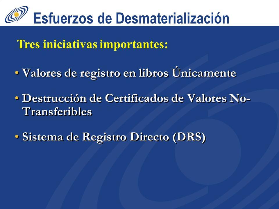 Esfuerzos de Desmaterialización Valores de registro en libros Únicamente Destrucción de Certificados de Valores No- Transferibles Sistema de Registro Directo (DRS) Valores de registro en libros Únicamente Destrucción de Certificados de Valores No- Transferibles Sistema de Registro Directo (DRS) Tres iniciativas importantes: