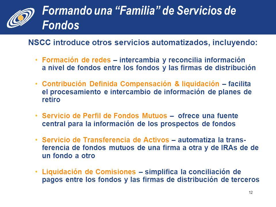 Formando una Familia de Servicios de Fondos NSCC introduce otros servicios automatizados, incluyendo: Formación de redes – intercambia y reconcilia in