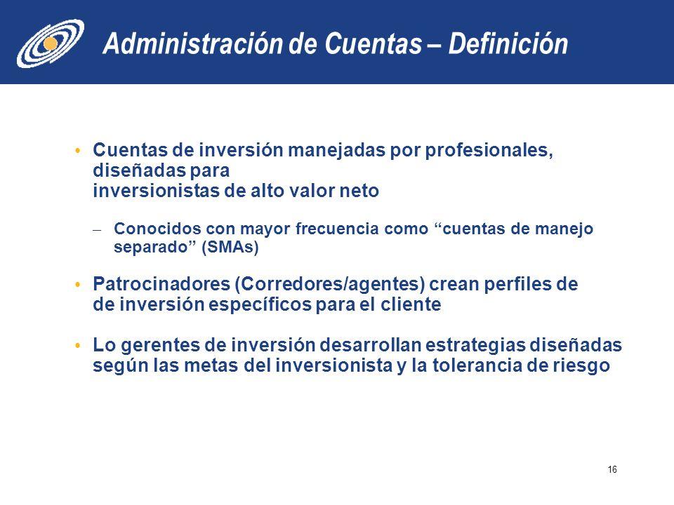 Administración de Cuentas – Definición Cuentas de inversión manejadas por profesionales, diseñadas para inversionistas de alto valor neto – Conocidos