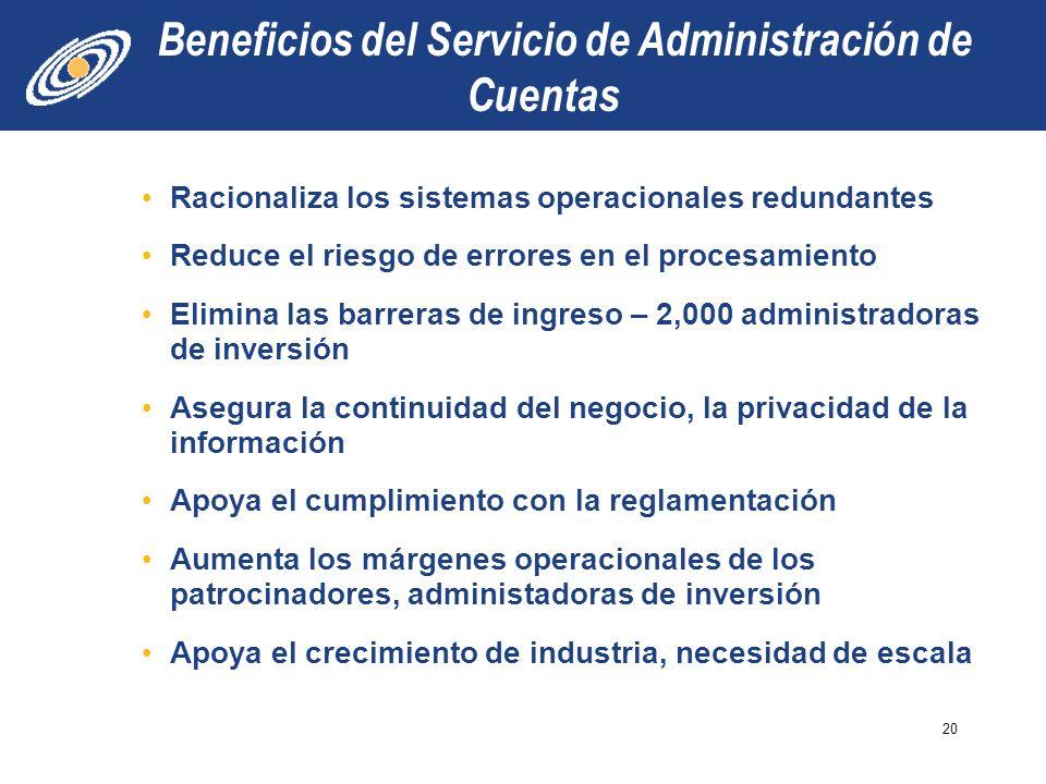 Beneficios del Servicio de Administración de Cuentas Racionaliza los sistemas operacionales redundantes Reduce el riesgo de errores en el procesamient