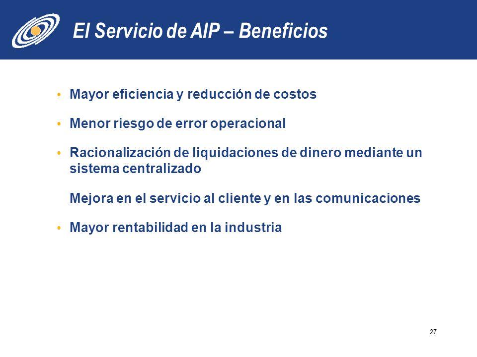 El Servicio de AIP – Beneficios Mayor eficiencia y reducción de costos Menor riesgo de error operacional Racionalización de liquidaciones de dinero mediante un sistema centralizado Mejora en el servicio al cliente y en las comunicaciones Mayor rentabilidad en la industria 27