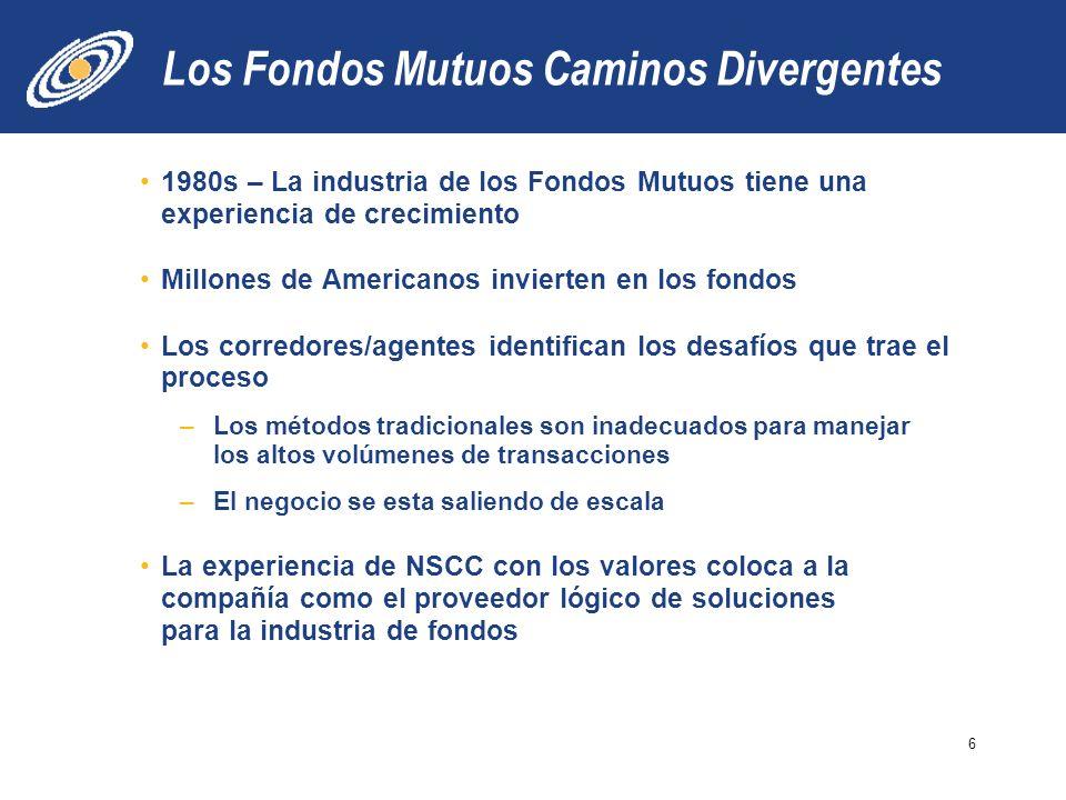 Los Fondos Mutuos Caminos Divergentes 1980s – La industria de los Fondos Mutuos tiene una experiencia de crecimiento Millones de Americanos invierten