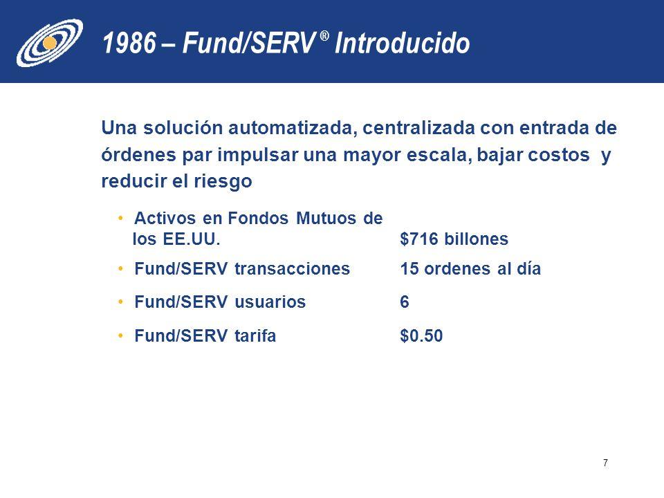 1986 – Fund/SERV Introducido Una solución automatizada, centralizada con entrada de órdenes par impulsar una mayor escala, bajar costos y reducir el riesgo Activos en Fondos Mutuos de los EE.UU.